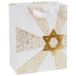 """Gold Star of David and Snowflakes Medium Gift Bag, 9.5"""", , large"""