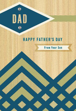 Modern Woodgrain Father's Day Card From Son