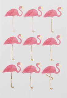 Nine Flamingos Blank Card,