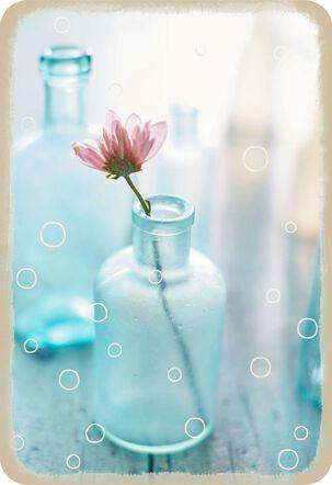 Blue Jar With Flower Blank Card