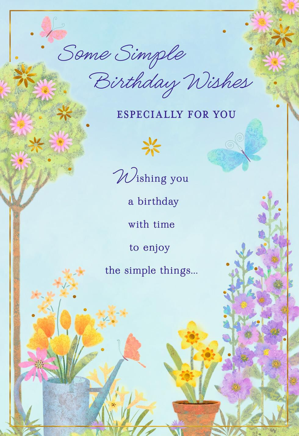 simple wishes flower garden birthday card  greeting cards