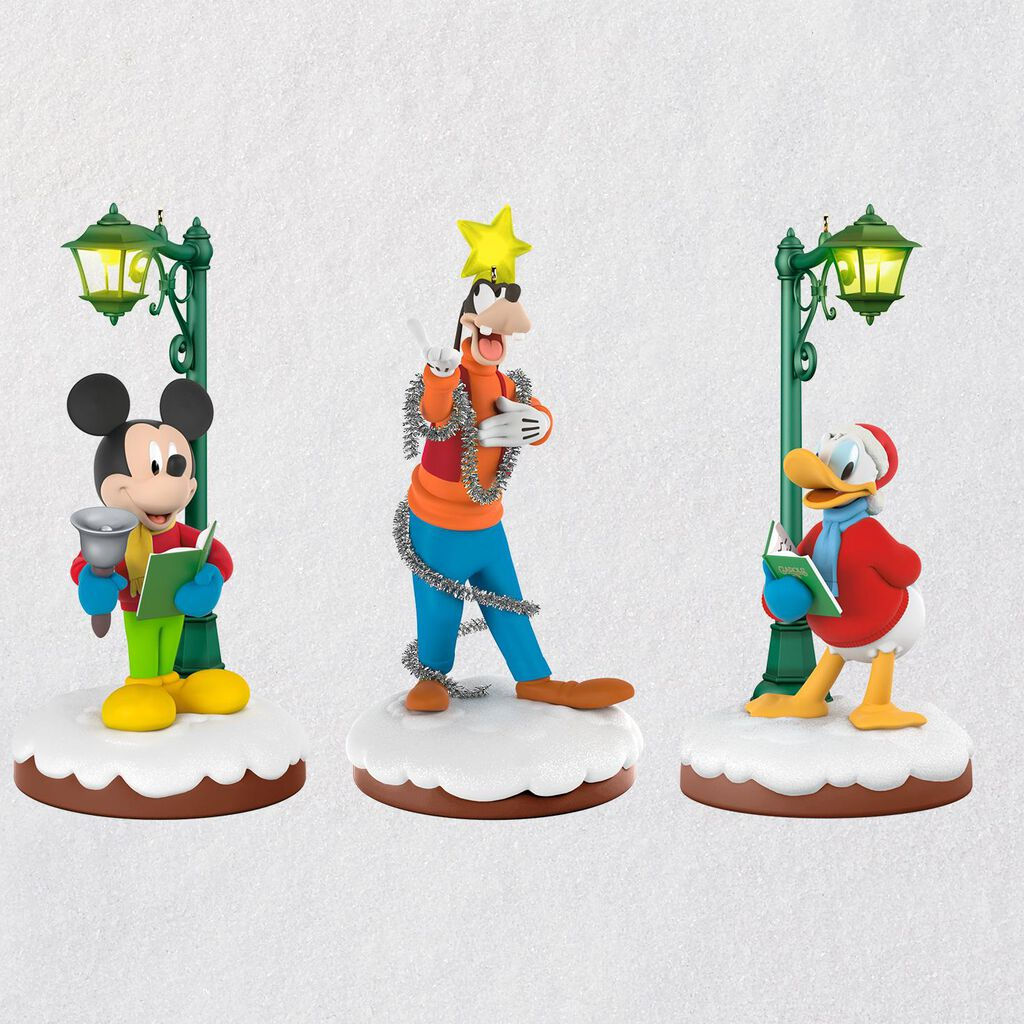 disney christmas carolers limited edition storytellers ornaments set of 3 keepsake ornaments hallmark - Disney Christmas Ornaments