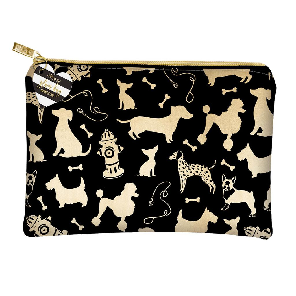 Dog Silhouettes Black And Gold Cosmetic Bag
