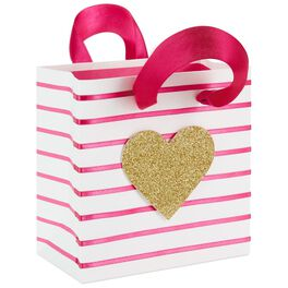 "Pink Stripe With Glitter Heart Small Square Gift Bag, 5.5"", , large"