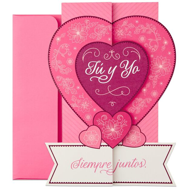 All My Heart Large SpanishLanguage Pop Up Love Card 12 – Valentines Cards in Spanish