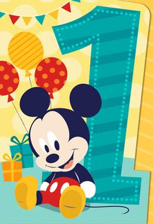 Mickey Mouse Musical 1st Birthday Card,