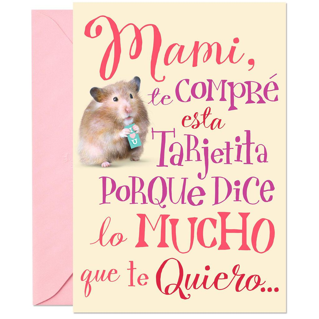 Just A Little Love Spanish Language Funny Pop Up Birthday Card For Mom