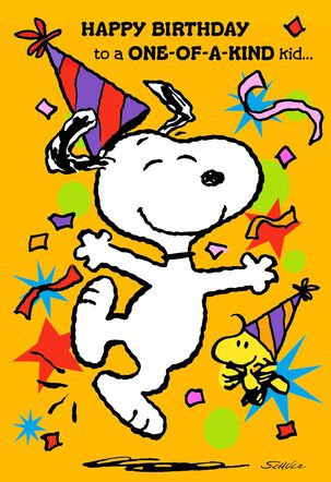 Peanuts® Snoopy and Woodstock Best Kind of Kid Birthday Card