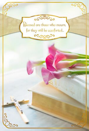 Bible and Cross With Calla Lilies Religious Sympathy Card