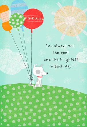 Cute Dog With Balloons on Hill Birthday Card