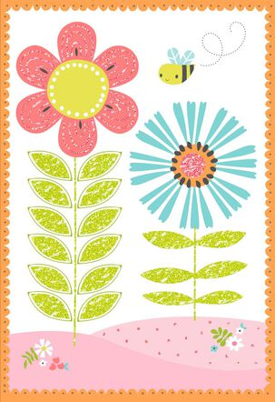 Flowers and Bees Blank Card