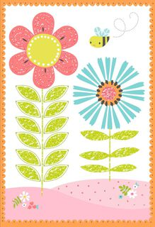 Flowers and Bees Blank Card,