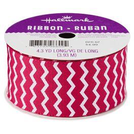 Raspberry Chevron Grosgrain Ribbon, , large