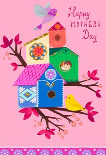 UNICEF Birds in Bird Houses Mother's Day Card,