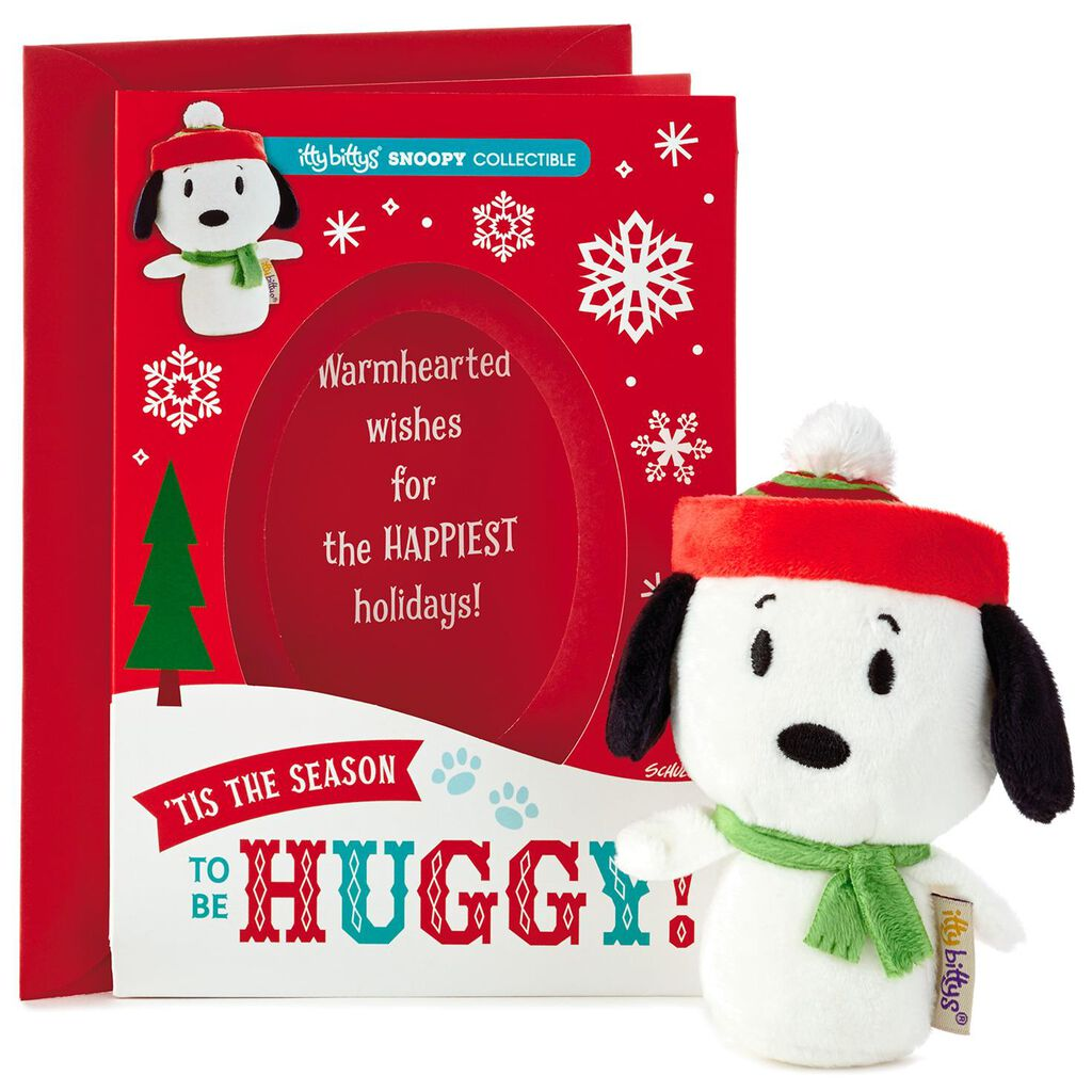 Itty Bittys Peanuts Snoopy Christmas Card With Stuffed Animal