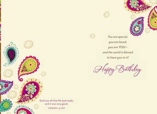 Bright Paisley Pattern Religious Birthday Card for Her,