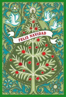 Wishes for Harmony, Beauty and Joy Spanish Christmas Card,