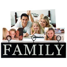 Family Wooden Picture Display with Three Clips, , large