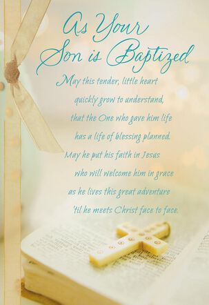 Bible With Cross Baby Boy Baptism Card