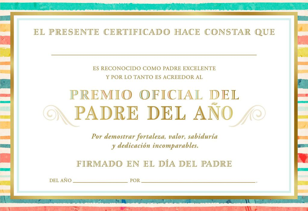 Father Of The Year Award Certificate Spanish Language Fathers Day