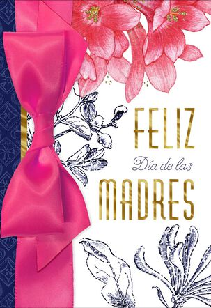Pink Flowers Religious Spanish-Language Mother's Day Card