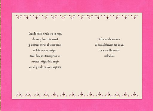 Glitter and Glow Spanish-Language Quinceañera Card,