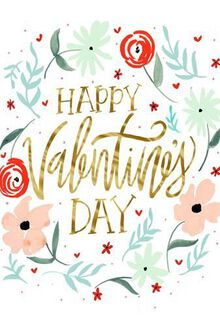 Floral Watercolor Bouquet Valentine's Day Card,