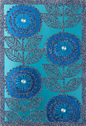 Blue Sparkle Flowers Blank Card