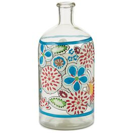 Red and Blue Flowers Glass Bottle Vase, Small, , large