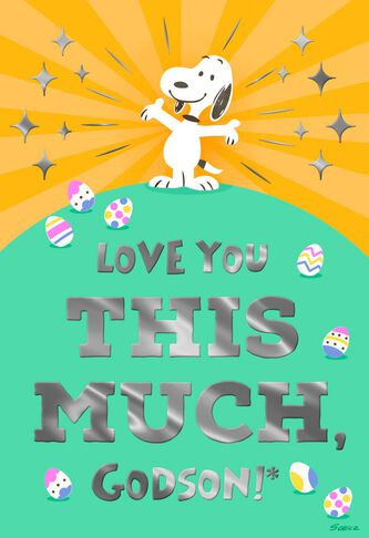 Peanuts snoopy love you this much godson easter card greeting peanuts snoopy love you this much godson easter card negle Images