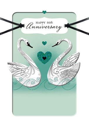 White Swans Religious 50th Anniversary Card
