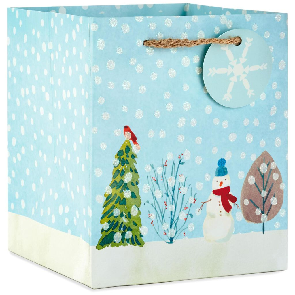 Snowman With Trees Extra-Deep Small Christmas Gift Bag, 6.5\