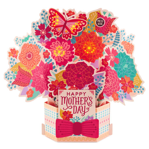 Happy Flower Bouquet Pop Up Musical Mothers Day Card With Light