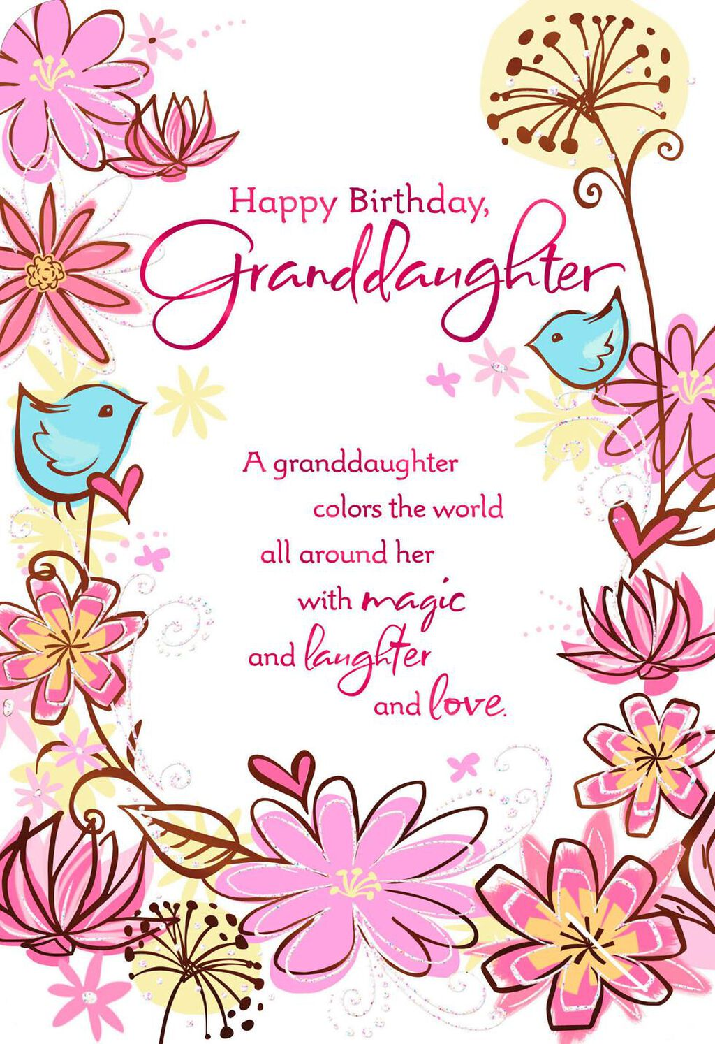 Birds And Flowers Birthday Card For Granddaughter Greeting Cards