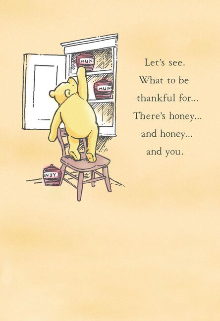 Disney Winnie The Pooh Thankful For You Thanksgiving Card Greeting
