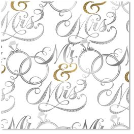 Mr. & Mrs. Wedding Wrapping Paper Roll, , large