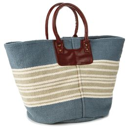 Cedar Cove Coastal Stripe Canvas Tote, , large