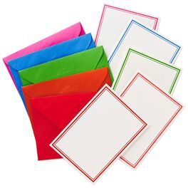 White With Color Borders Blank Note Cards, Box of 50, , large