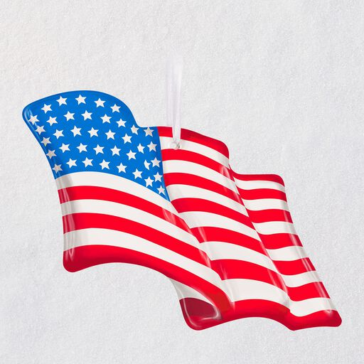 6fe338dc295e Wave Proudly American Flag Glass Ornament, ...