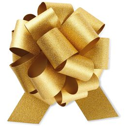 """Gold Super Glitter Pull Bow, 5.5"""", , large"""