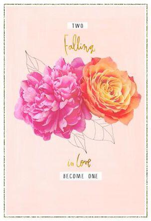 Pink & Orange Flowers Wedding Card