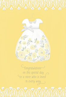 Floral Dress First Communion Card for Niece,