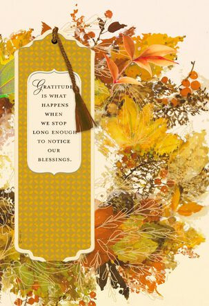 Gratitude Is What Happens When We Notice Our Blessings Thanksgiving Card With Bookmark