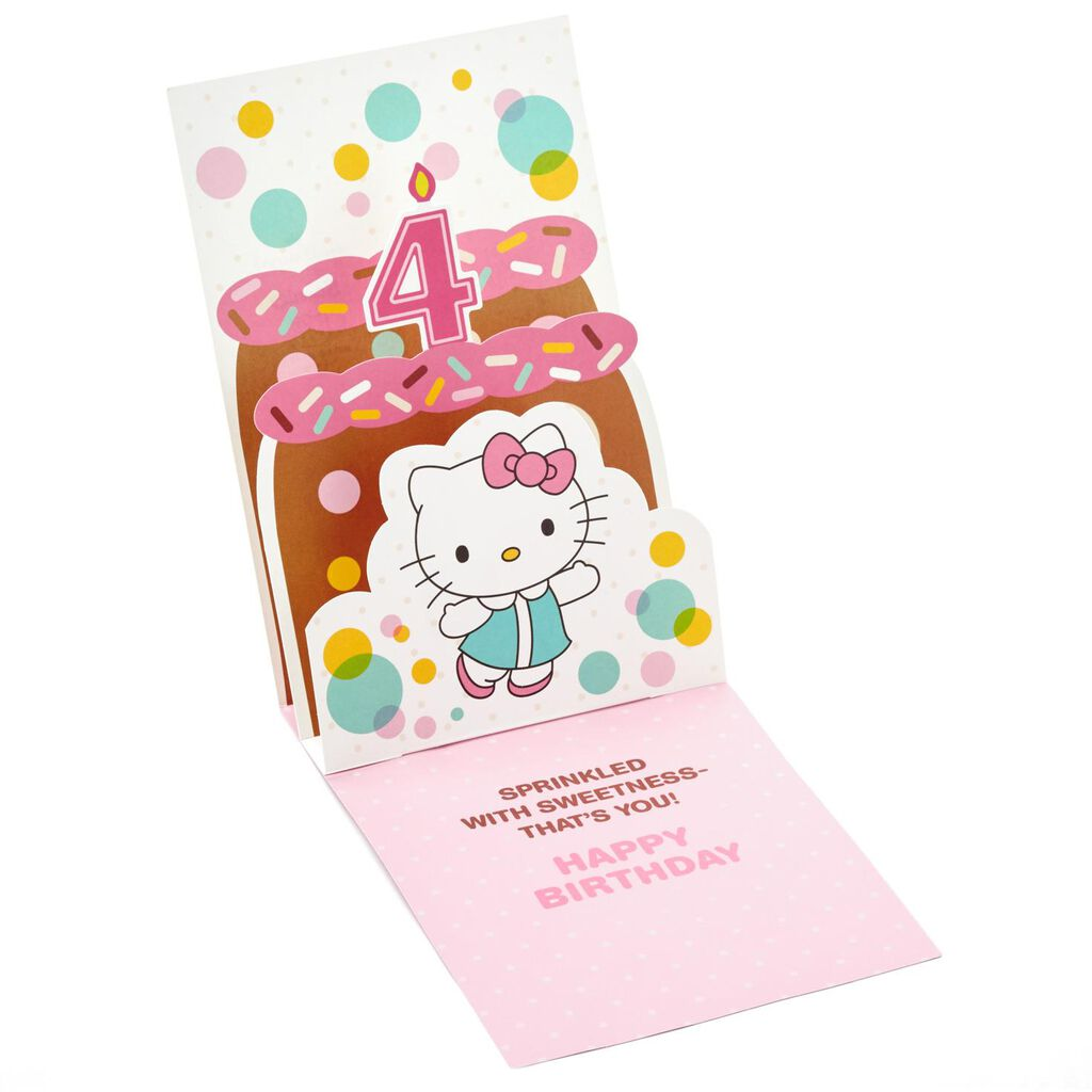 Hello KittyR 4th Birthday Pop Up Card