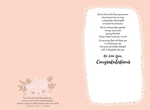 Diploma With Flowers Religious Graduation Card for Daughter,
