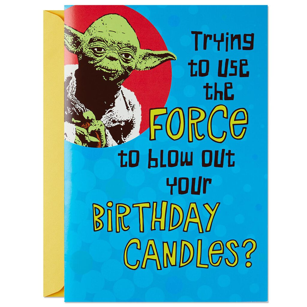 Star WarsTM YodaTM Trick Candles Birthday Card With Sound And Light