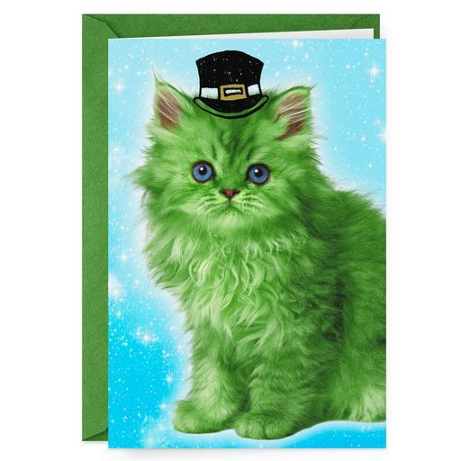 Green Leprechaun Cat Funny St Patricks Day Card