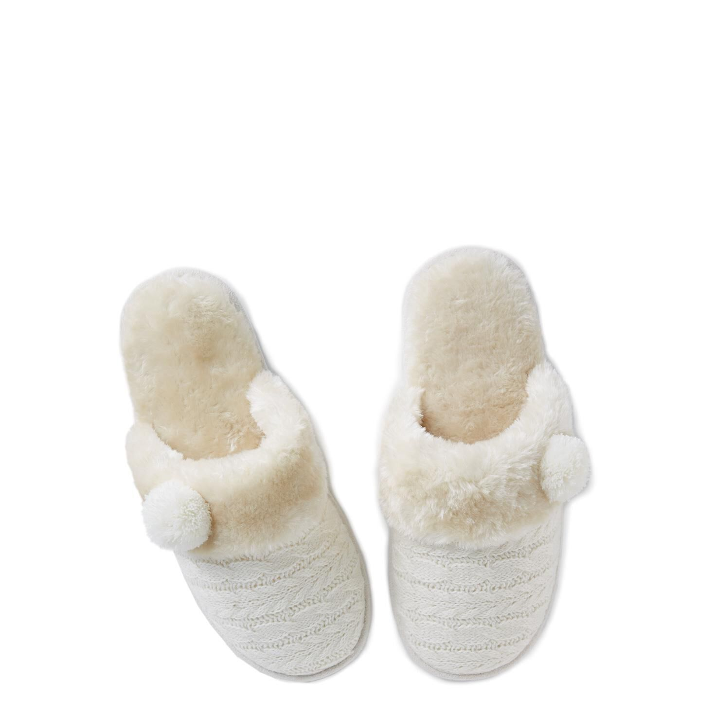 Ivory Cable Knit Slippers Sleep Hallmark