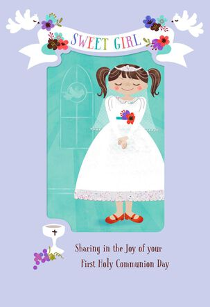 For a Sweet Girl Religious First Communion Card