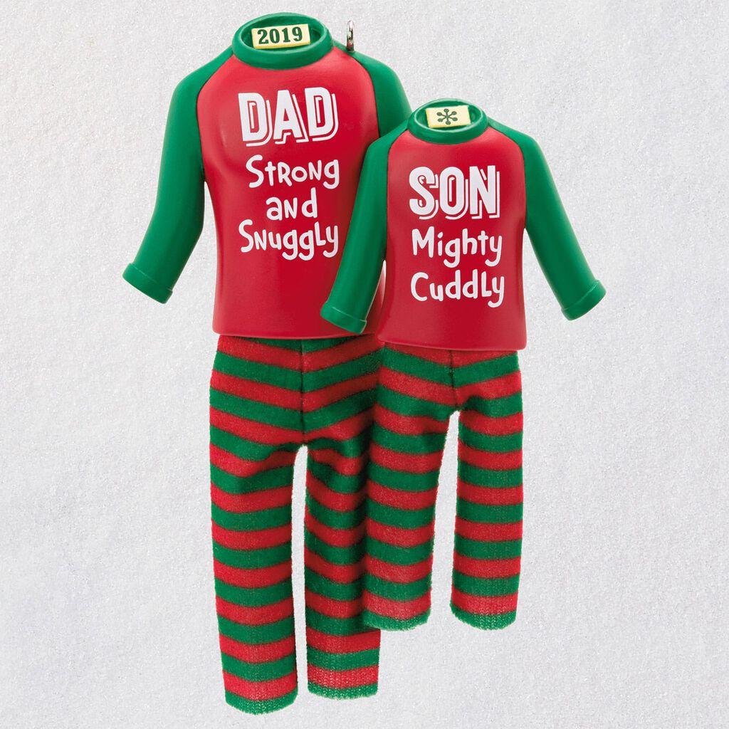 Christmas Pajamas.Dad Son Matching Christmas Pajamas 2019 Ornament